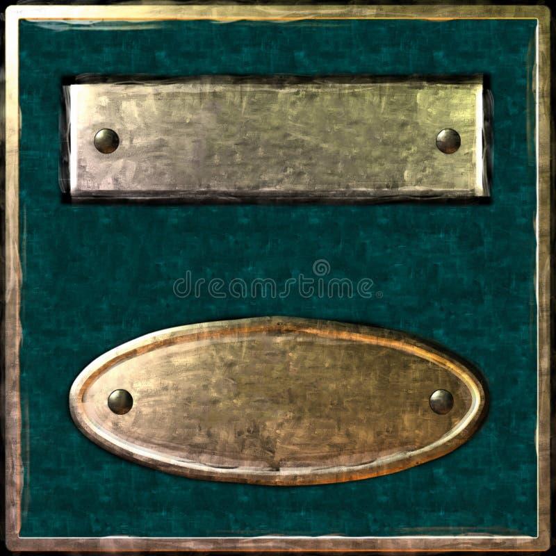 Elipse verde da placa da caixa do ouro fotos de stock