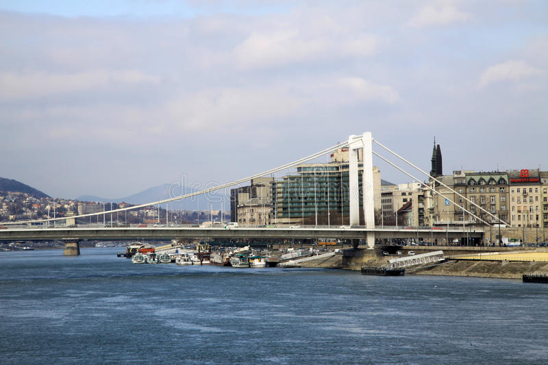 Elisabeth Bridge across the River Danube in Budapest, Hungary royalty free stock photography