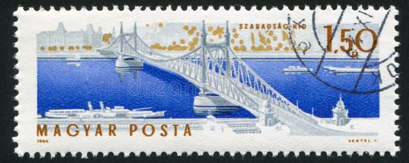 Elisabeth bridge in Budapest. HUNGARY – CIRCA 1964: stamp printed by Hungary, shows Elisabeth bridge in Budapest, circa 1964 royalty free stock photos