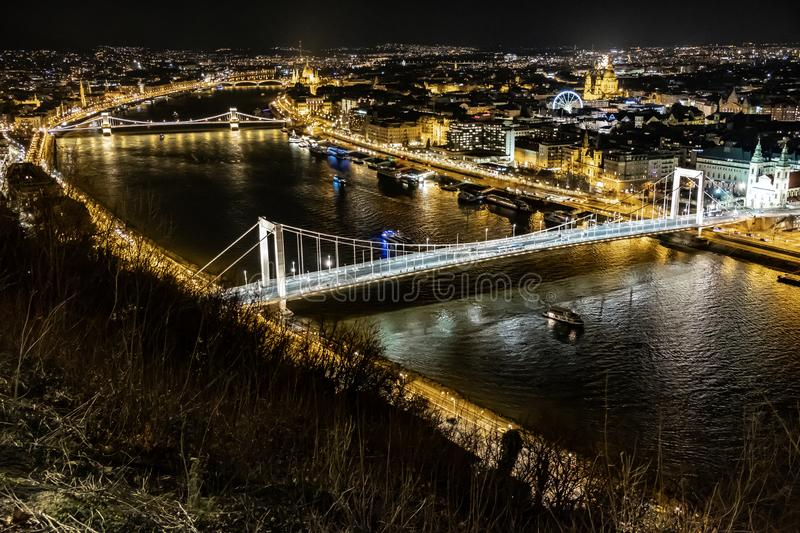 Elisabeth Bridge - Budapest - Hungary. Perfect night view of Elisabeth Bridge - Budapest - Hungary, photo taken from the Citadella Hill. On the background the stock image
