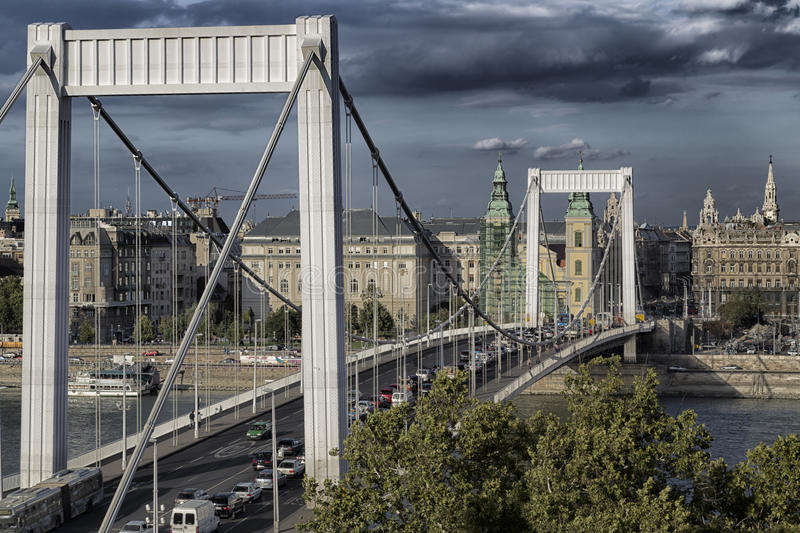 Elisabeth Bridge in Budapest. A view of the Elisabeth Bridge on the Danube river in Budapest in Hungary stock images