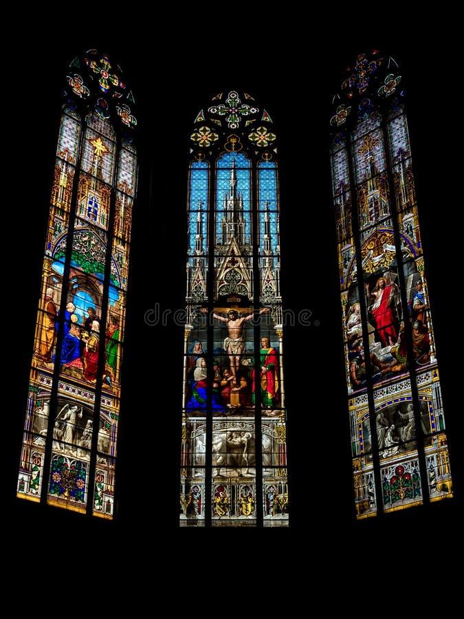 Elisabeth kościół w Basel, wewnętrzny widok, majestatyczna architektura zdjęcia royalty free