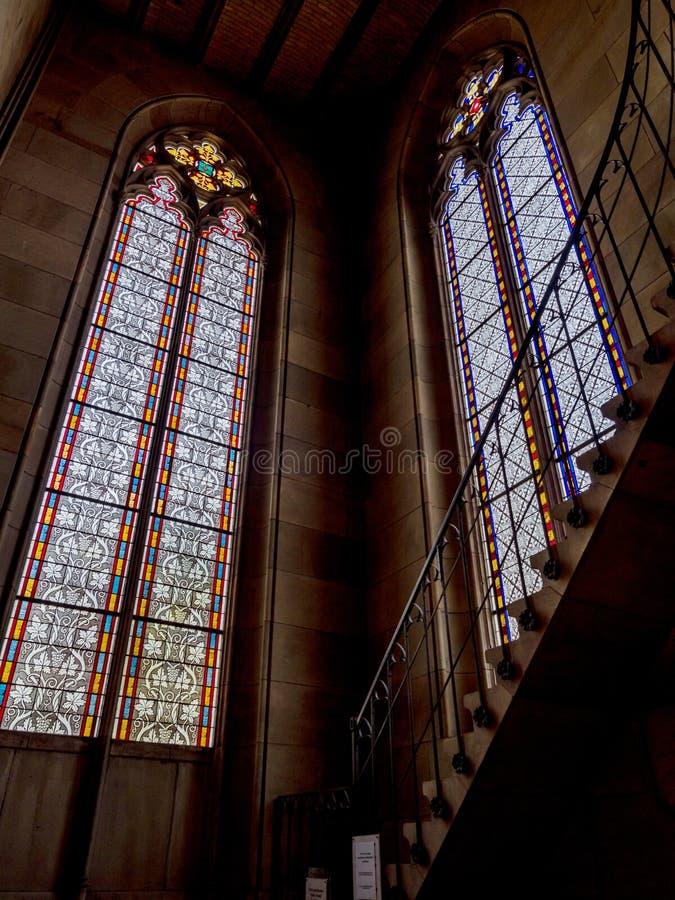 Elisabeth kościół w Basel, wewnętrzny widok, majestatyczna architektura zdjęcie stock