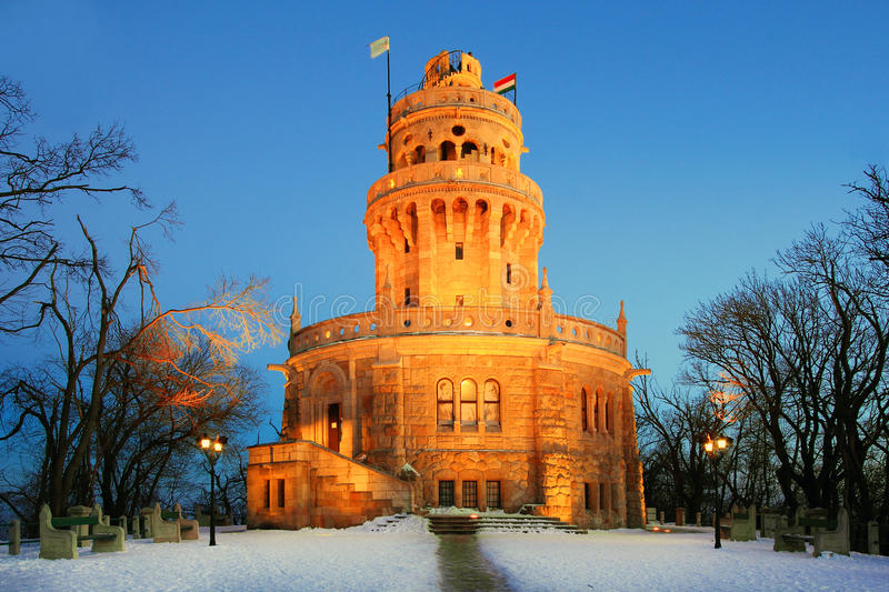 Elisabeth look-out tower. On Janos Hill, Budapest, in winter stock photos