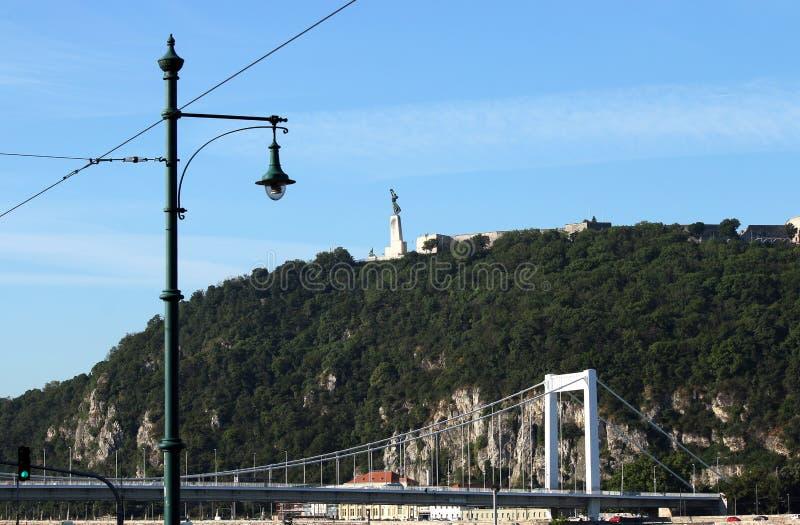 Elisabeth most i Gellert wzgórze Budapest miasto obrazy stock