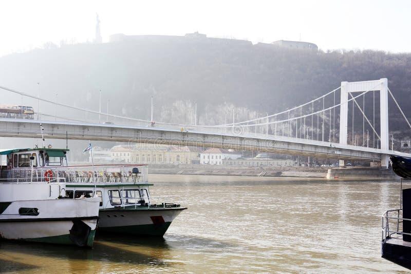 Elisabeth most nad Danube rzeką w Budapest na mgłowym dniu fotografia royalty free