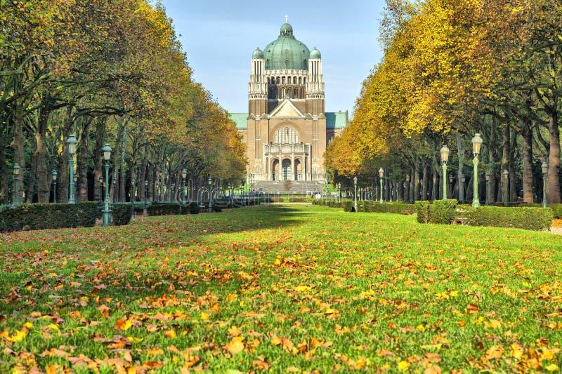 Elisabeth park near basilica of Sacred Heart, Brussels. Autumn in Elisabeth park near basilica of Sacred Heart, Brussels, Belgium stock photo