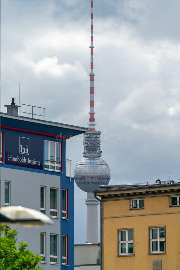 Elisabeth-Schwarzhaupt-Platz, Nordbahnhof, Berlin, Germany - july 07, 2019:  view of the TV Tower in the distance royalty free stock photo