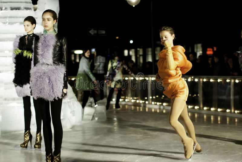Elise Overland fashion show. At the Standard hotel in New York on the ice rink stock image