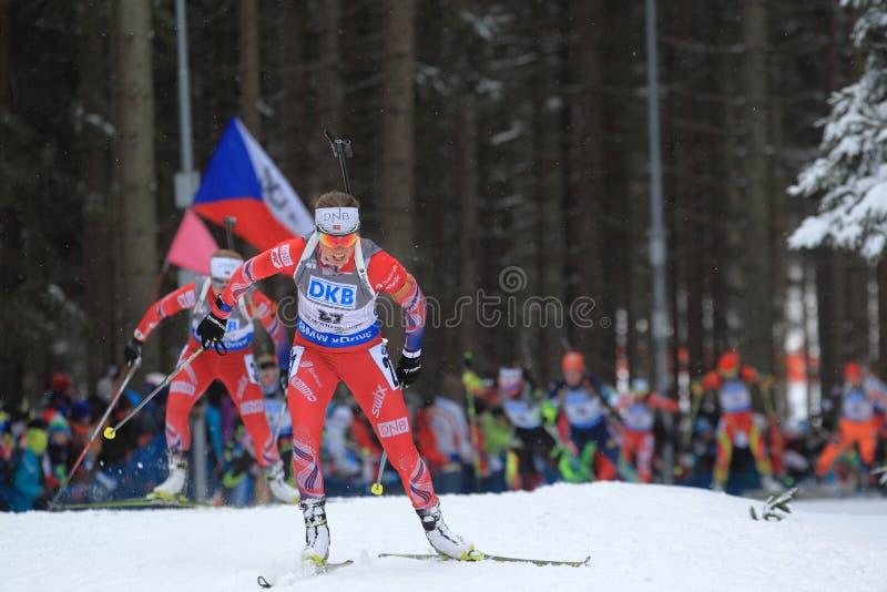 Elise Ringen - biathlon world cup. Hard-working Elise Ringen from Norway in women 10 km pursuit race within biathlon world cup 2014/2015 held on Nove Mesto na stock photo