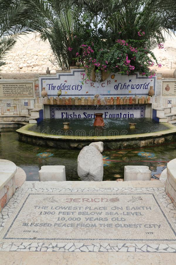 Elisha spring fountain in Jericho, the oldest city of the world. Palestine. Israel stock images