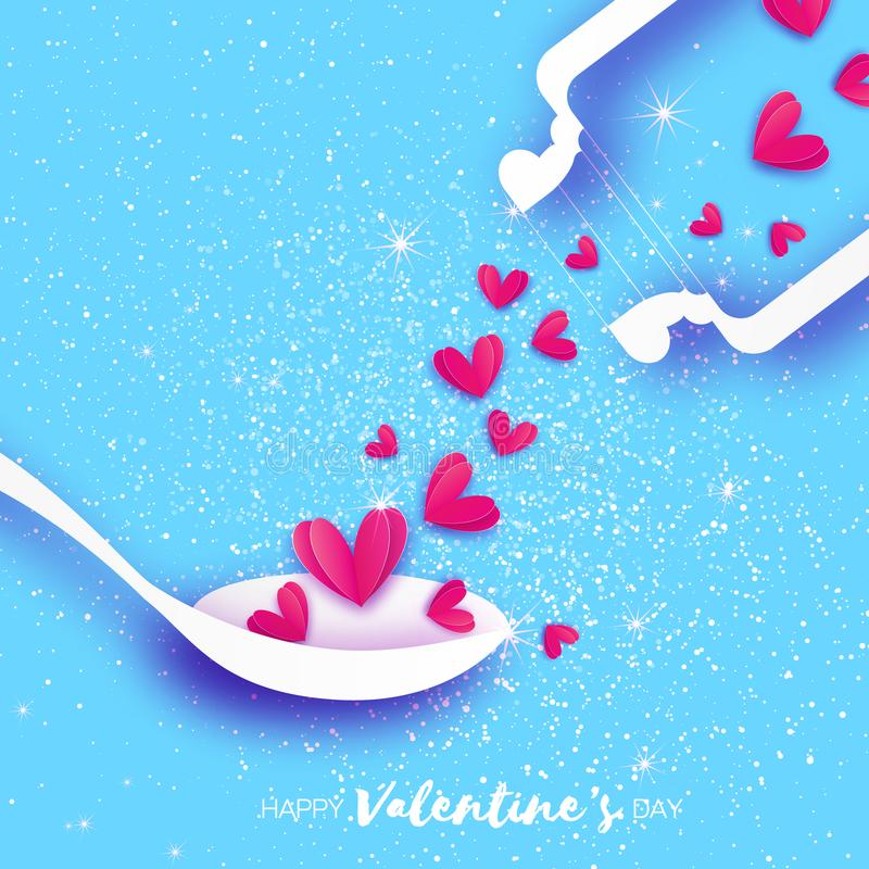 Elisir di amore Chimica di amore Cuori nello stile del taglio della carta illustrazione di stock