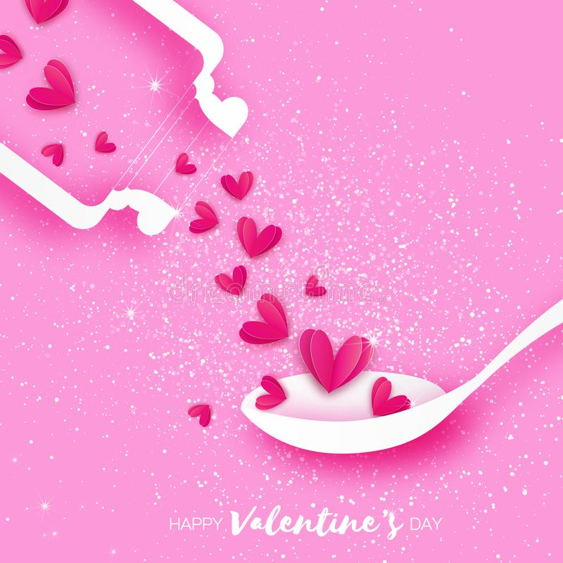 Elisir di amore Chimica di amore Cuori rosa nello stile del taglio della carta Provetta con il liquido di amore cucchiaio Carta r royalty illustrazione gratis