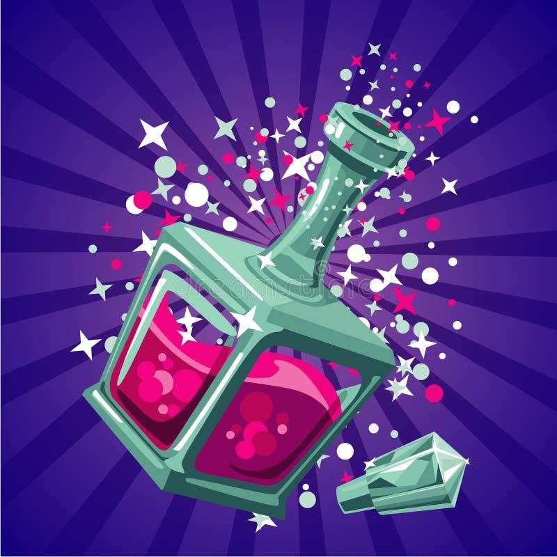 Elisir magico Bottiglia di magia di concetto di progetto del gioco Illustartion del fumetto royalty illustrazione gratis