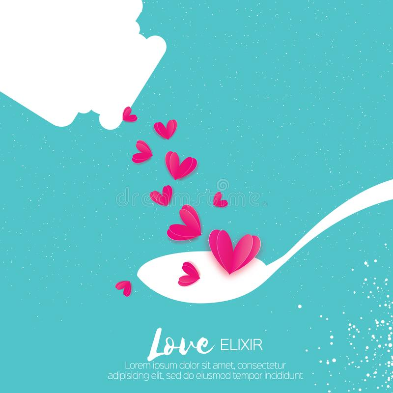 Elisir sveglio di amore Chimica di amore Cuori rosa Provetta royalty illustrazione gratis