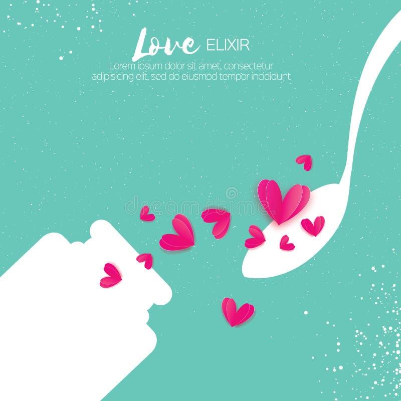 Elisir sveglio di amore Chimica di amore Cuori rosa Provetta con il liquido di amore cucchiaio Carta romantica per i biglietti di royalty illustrazione gratis