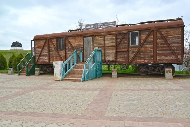 ELISTA, RUSSIA. Memorial complex Outcome and Return. Car museum of Stalin deportation of Kalmyks. The Russian text - the Museum stock images