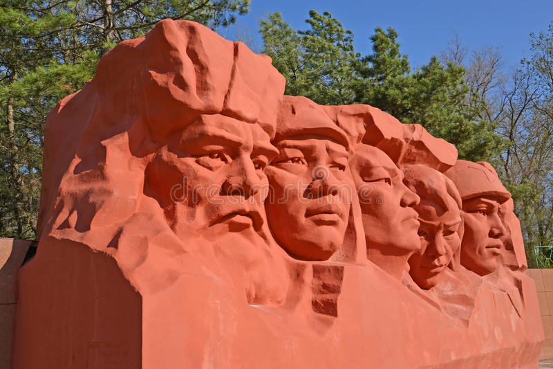 ELISTA, RUSSIA. Fragment of sculptural composittion of the Memorial complex of heroes Civil and Great Patriotic War of wars royalty free stock photos