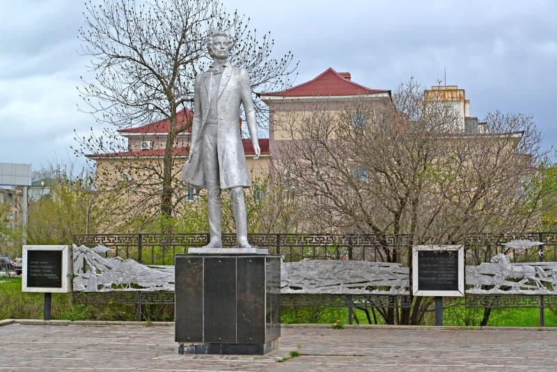ELISTA, RUSSIA Monumento a A S pushkin immagine stock