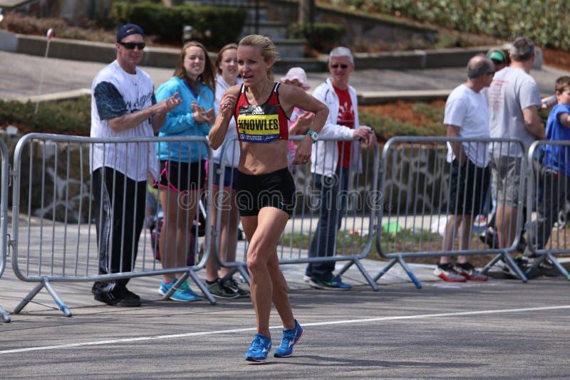 Elita kobiety ścigają się w górę zawodu miłosnego wzgórza podczas Boston Maratoński Kwiecień 18, 2016 w Boston fotografia stock