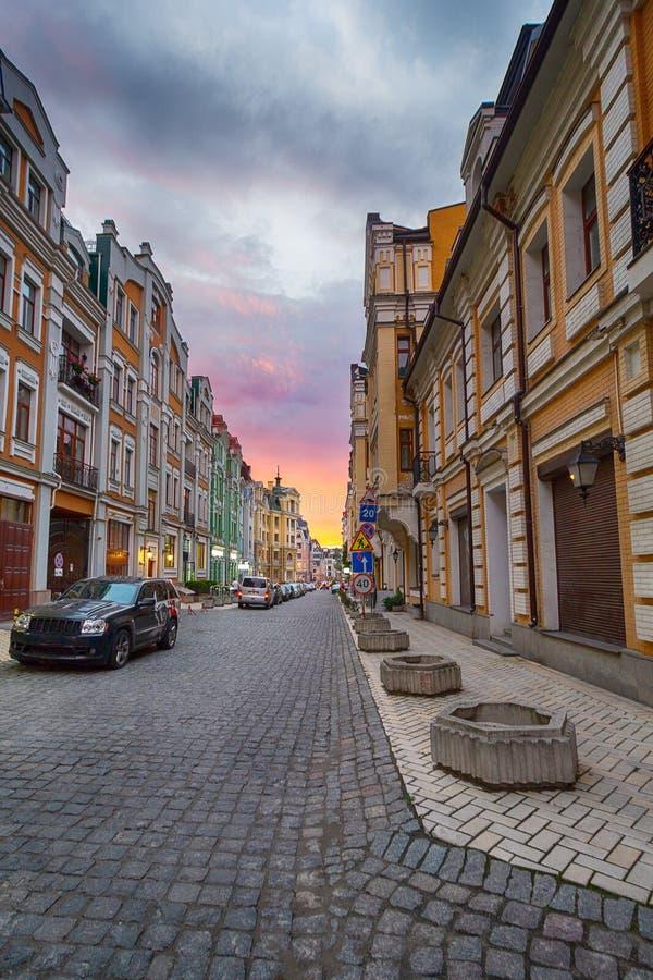 Elita teren Vozdvizhenka Kijów w wieczór fotografia royalty free