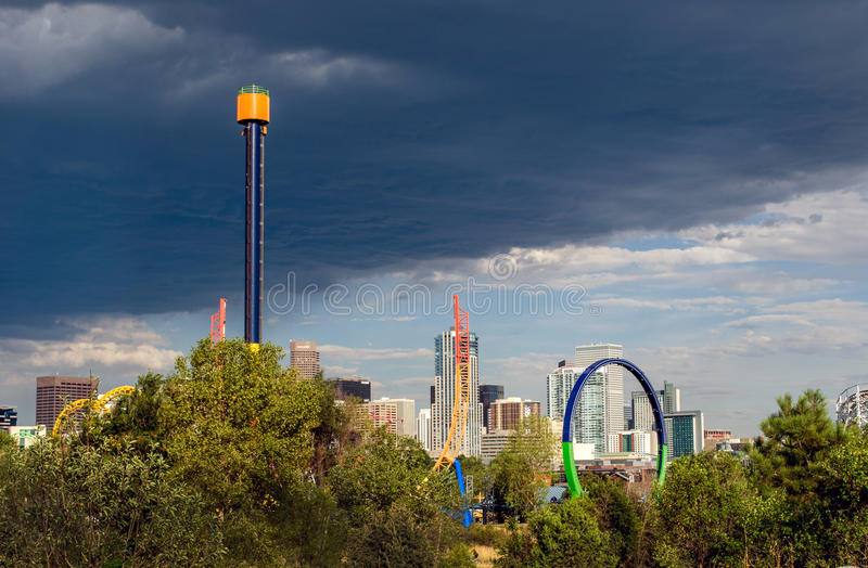 Elitch Gardens amusement park in Denver stock images
