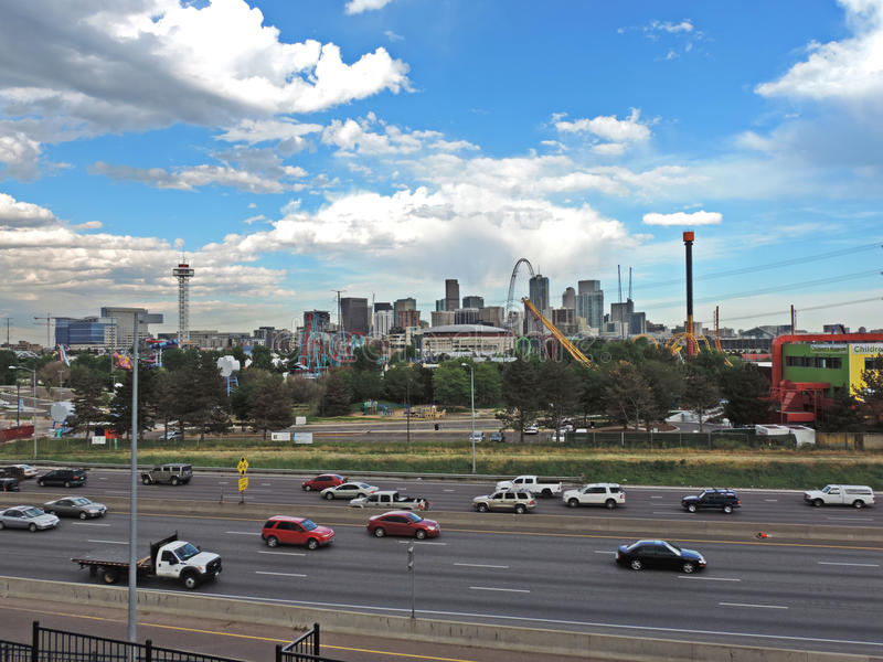 Elitch Gardens and the Downtown Denver Colorado Skyline royalty free stock images