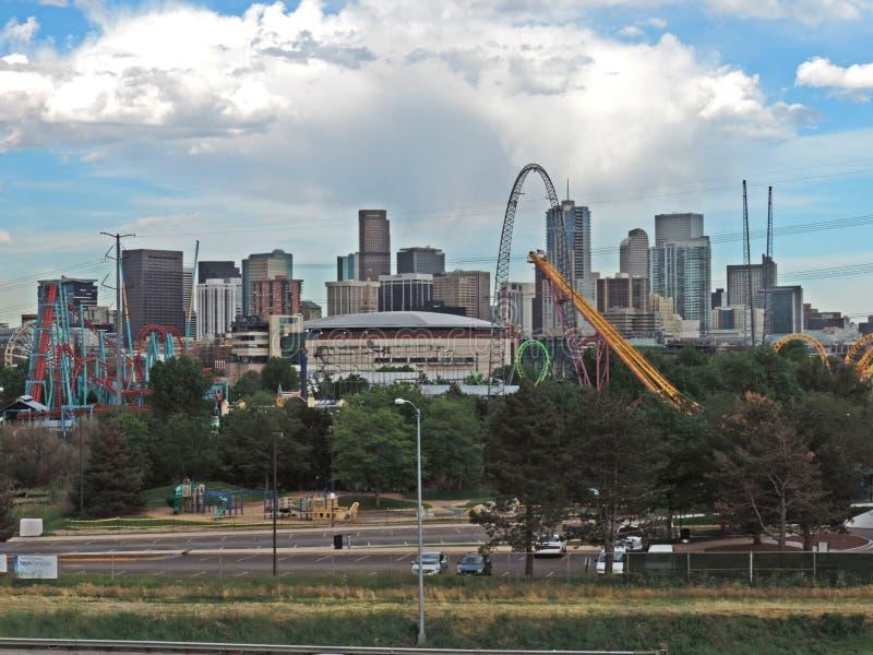 Elitch Gardens and the Downtown Denver Colorado Skyline stock images