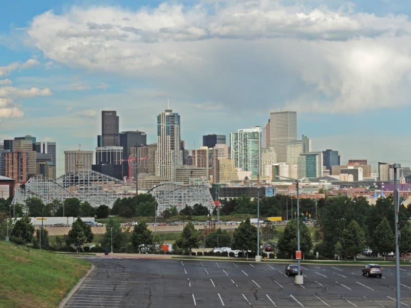 Elitch Gardens and the Downtown Denver Colorado Skyline royalty free stock photos