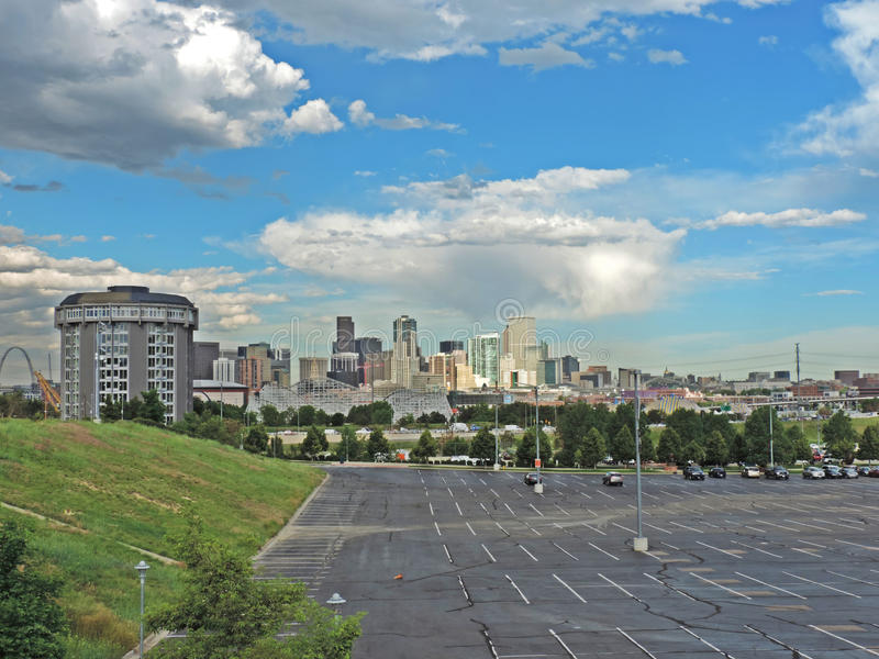Elitch Gardens and the Downtown Denver Colorado Skyline royalty free stock image