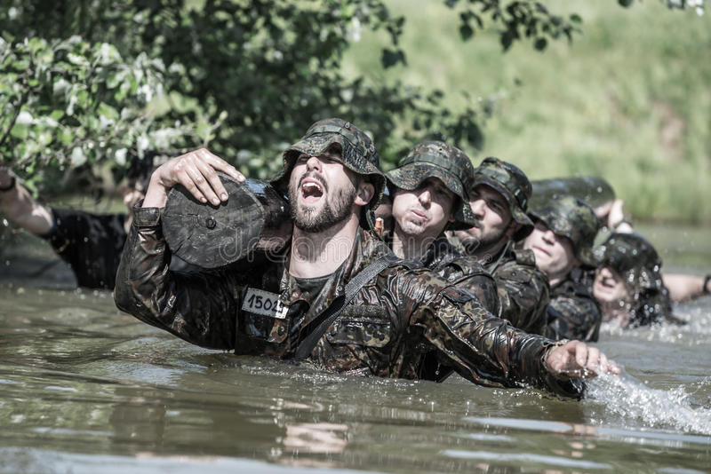 Elite Challenge - military training, competitions civilians stock images