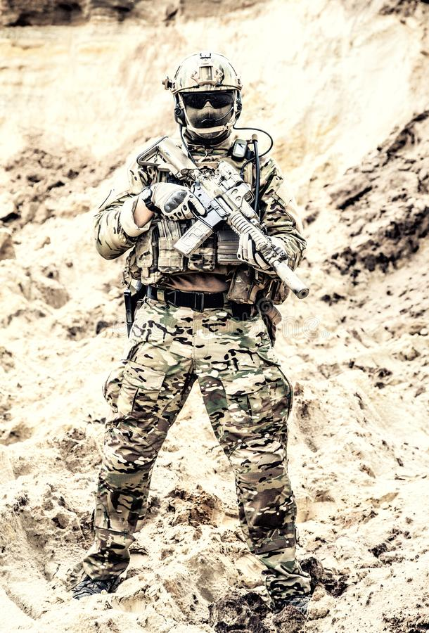 Elite fighter of special forces ready for battle royalty free stock image