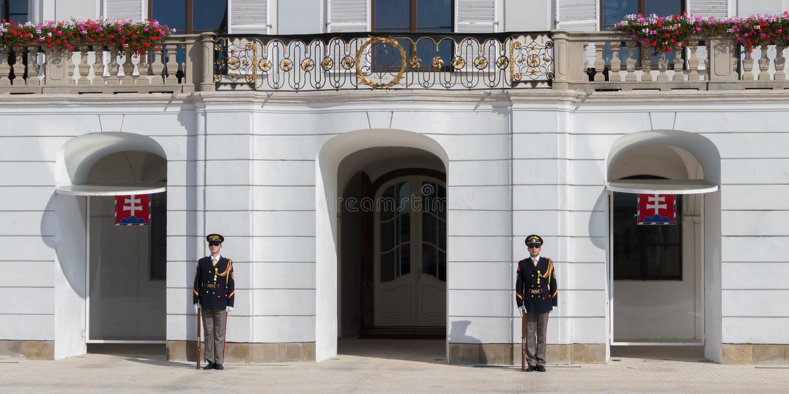 The elite guards of Honor in front of the presidential palace. Bratislava, Slovakia royalty free stock photos