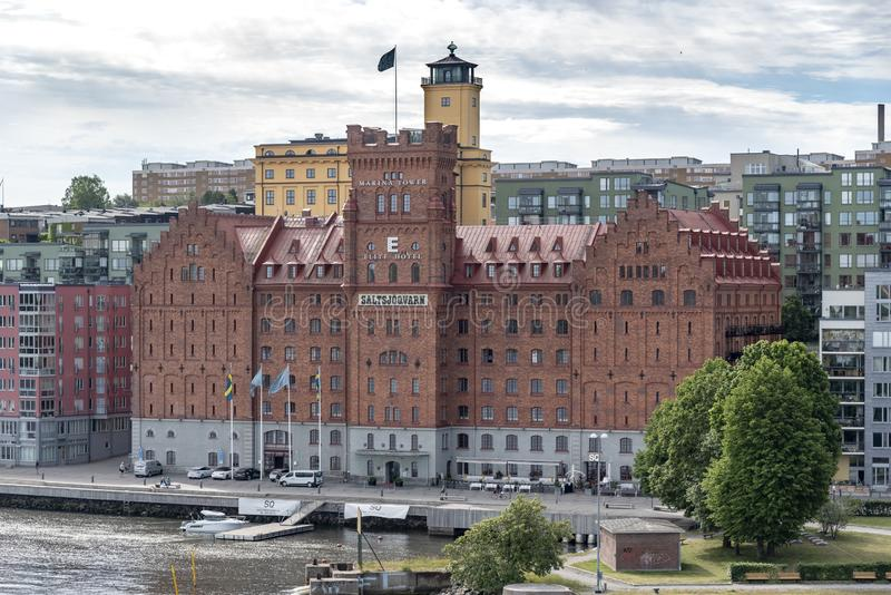 Elite Hotel Marina Tower Stockholm. Stockholm, the capital of Sweden, encompasses 14 islands and more than 50 bridges on an extensive Baltic Sea archipelago stock photography