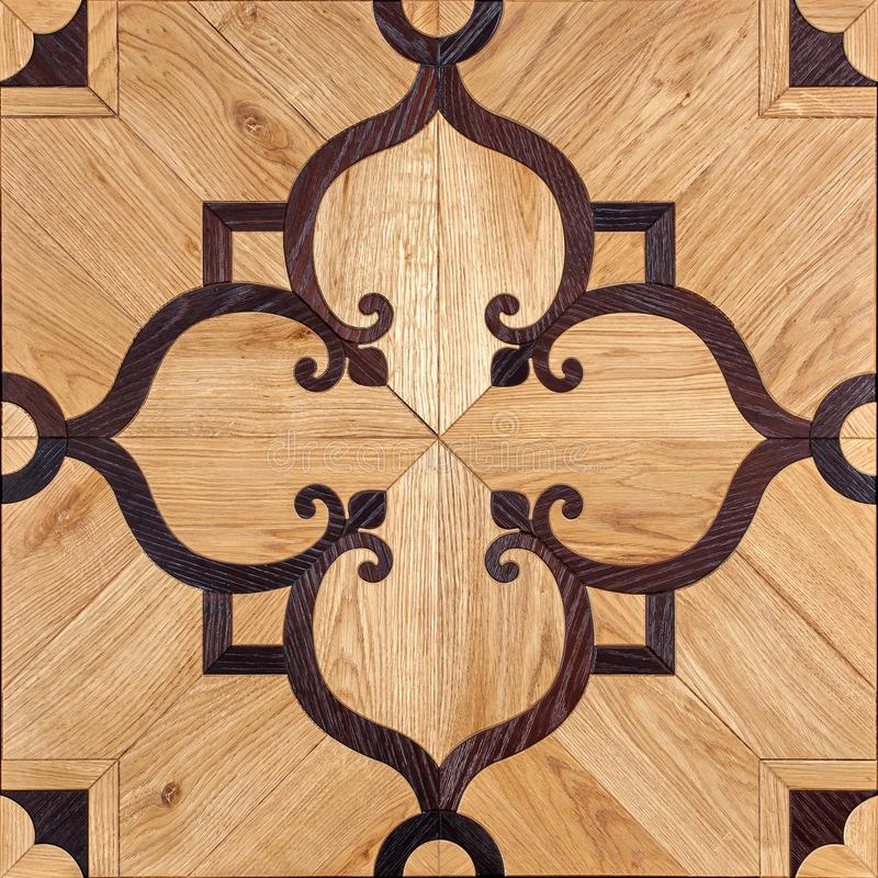 Elite modular parquet. Natural wooden flooring with luxury texture and pattern. Top view stock photos