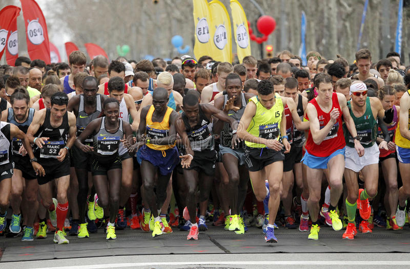 Elite runners on the start. Of Barcelona Half Marathon at the Barcelona streets on February 12, 2017 in Barcelona Spain royalty free stock photography