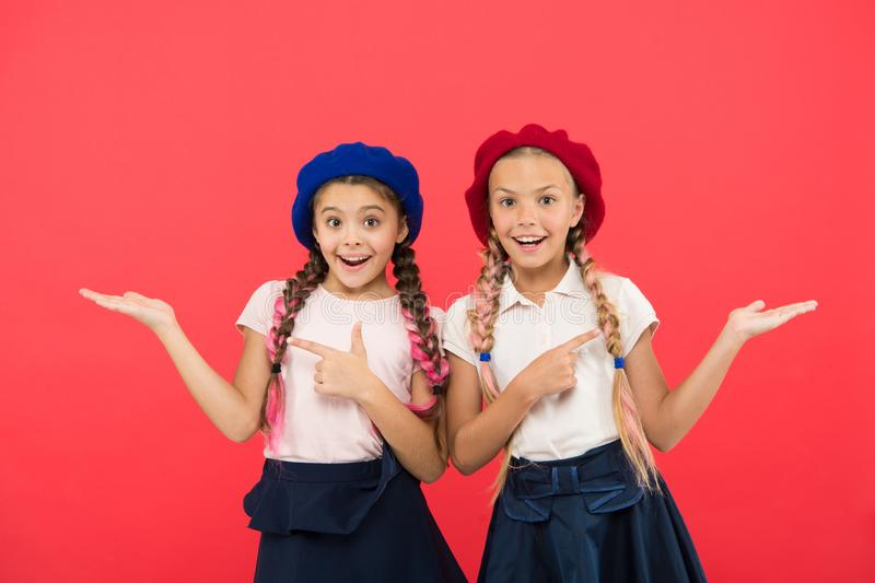 Elite school college. Education abroad. Apply form enter international school. Sisters friends girls. French language royalty free stock photography