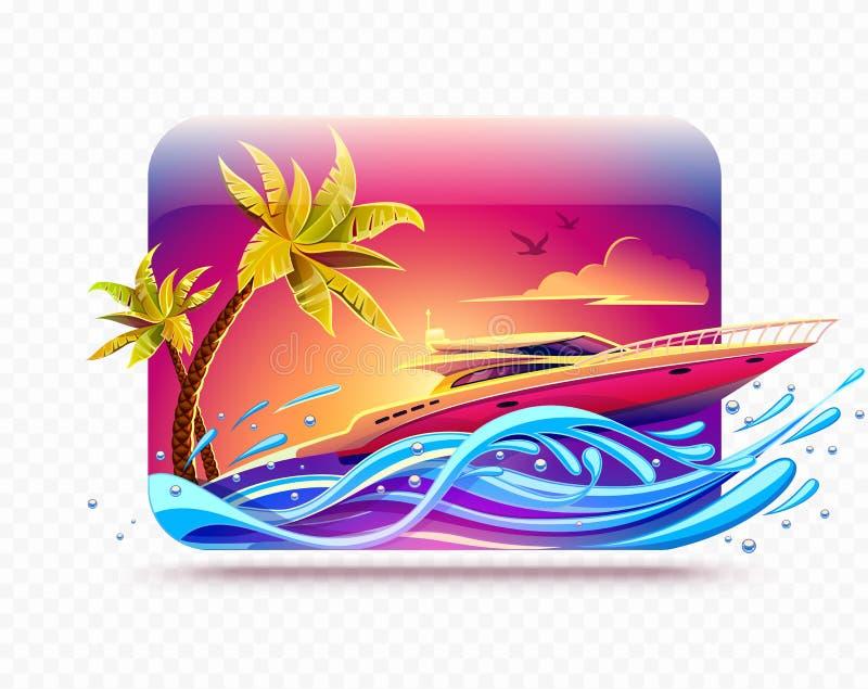 Elitlyx vilar på yachten bland tropiskt stock illustrationer