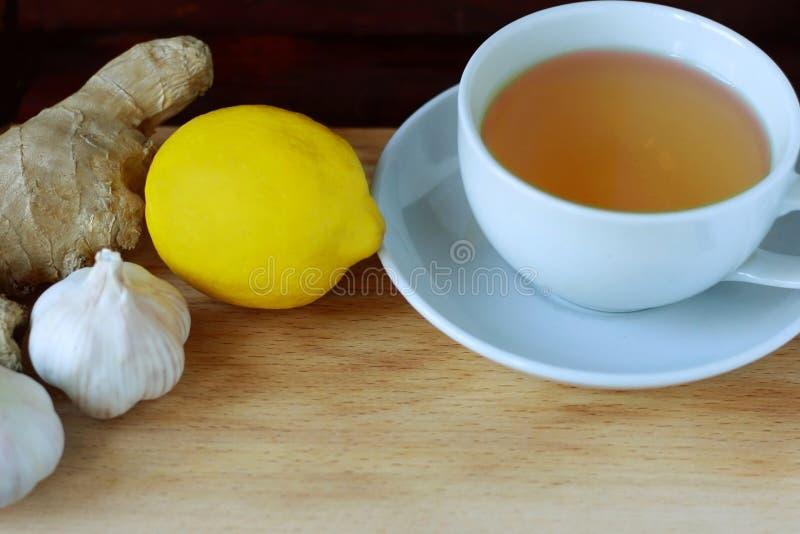 Elixir da saúde do limão, do alho e do gengibre Remédio de Weightloss Meios para limpar embarcações e a normalização da pressão fotografia de stock royalty free