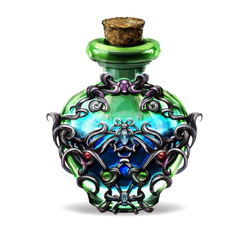 elixir de jogos da fantasia para uma garrafa ilustração royalty free