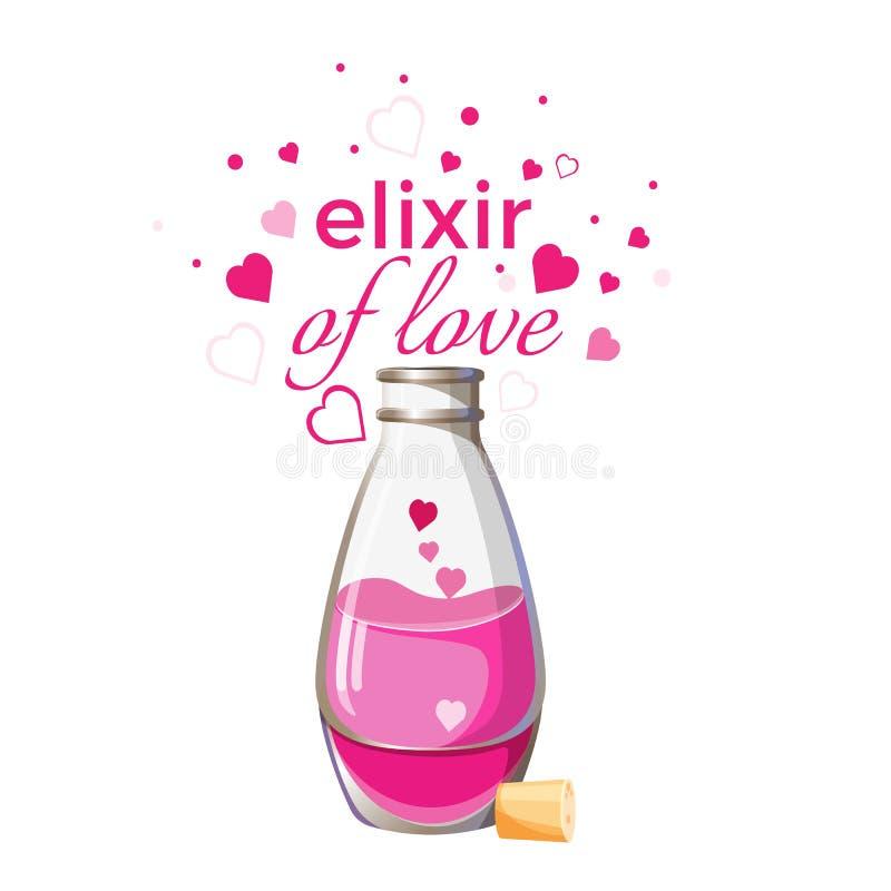 Elixir de la botella del amor con el líquido rosado y corazones aislados ilustración del vector