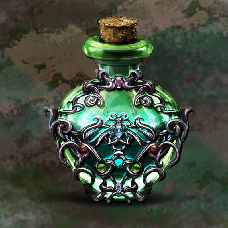 Elixir of fantasy games for a bottle. S stock illustration
