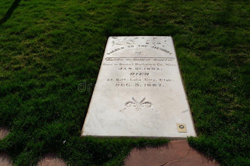 Eliza R De Ernstige steen van sneeuwsmith's, bij Mormoons Pioniersgedenkteken, stock afbeelding