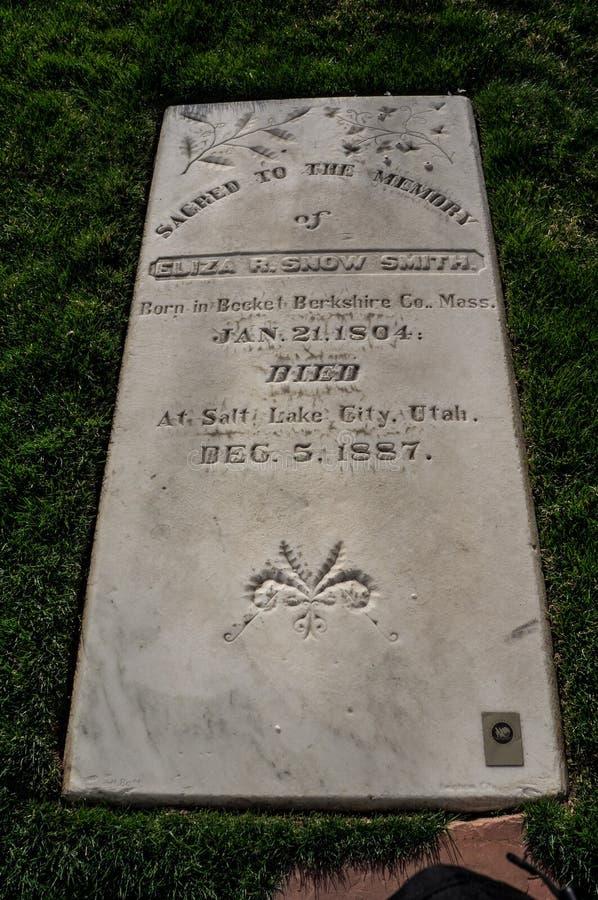 Eliza R Pietra grave di Smith's della neve, al memoriale pionieristico mormonico, immagini stock