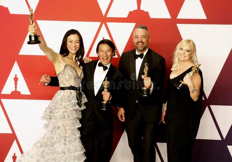 Elizabeth Chai Vasarhelyi, Jimmy Chin, Evan Hayes, Shannon Dill stock foto's