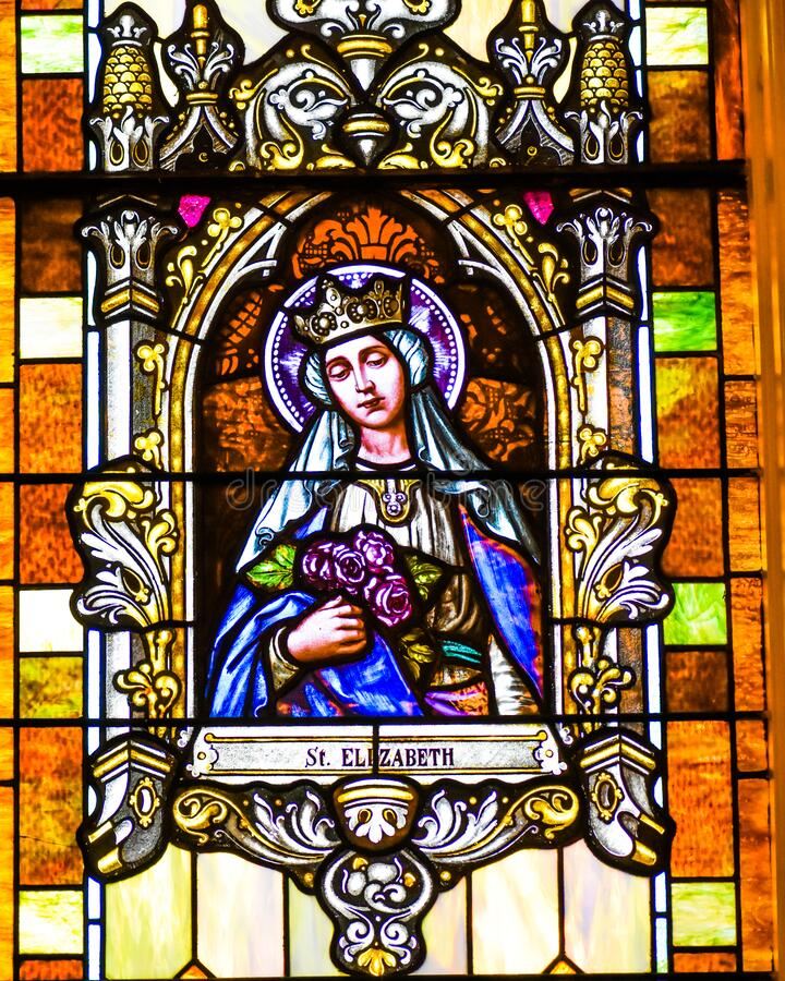 Saint Elizabeth Stained Glass Window stock photography