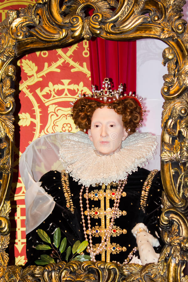 Elizabeth I wax figure. S in Madame Tussaud's Museum, London, United Kingdom royalty free stock image
