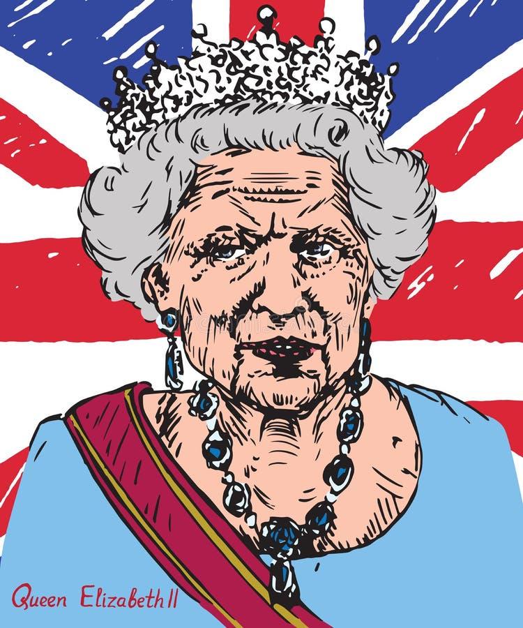 Elizabeth II (Elizabeth Alexandra Mary), drottning av Förenade kungariket, Kanada, Australien och Nya Zeeland, huvud av vektor illustrationer
