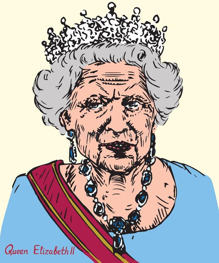 Elizabeth II Elizabeth Alexandra Mary, drottning av Förenade kungariket, Kanada, Australien och Nya Zeeland, huvud av brittiska s stock illustrationer