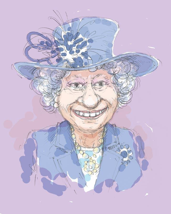 Elizabeth II i en blå hatt med fjädrar och band royaltyfri illustrationer